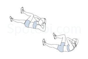 Bicycle crunches exercise guide with instructions, demonstration, calories burned and muscles worked. Learn proper form, discover all health benefits and choose a workout. https://www.spotebi.com/exercise-guide/bicycle-crunches/