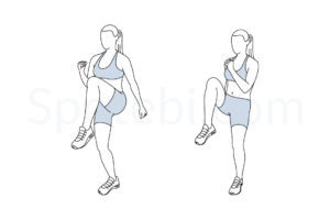 High knees exercise guide with instructions, demonstration, calories burned and muscles worked. Learn proper form, discover all health benefits and choose a workout. https://www.spotebi.com/exercise-guide/high-knees/