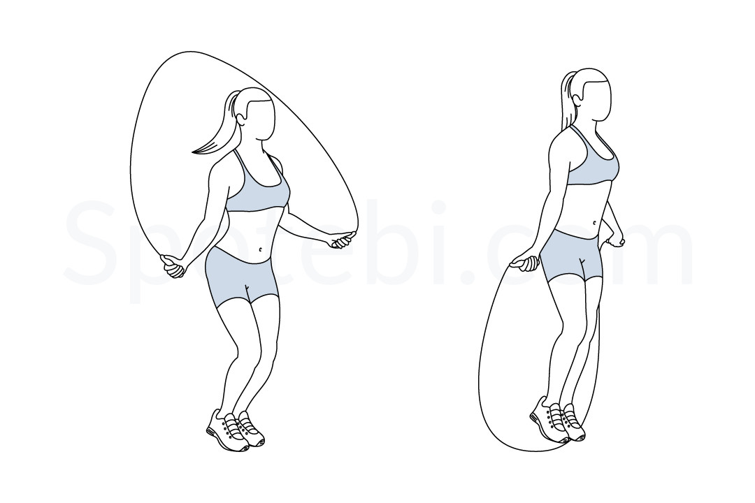 Jump rope exercise guide with instructions, demonstration, calories burned and muscles worked. Learn proper form, discover all health benefits and choose a workout. https://www.spotebi.com/exercise-guide/jump-rope/