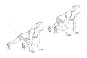 Mountain climbers exercise guide with instructions, demonstration, calories burned and muscles worked. Learn proper form, discover all health benefits and choose a workout. https://www.spotebi.com/exercise-guide/mountain-climbers/