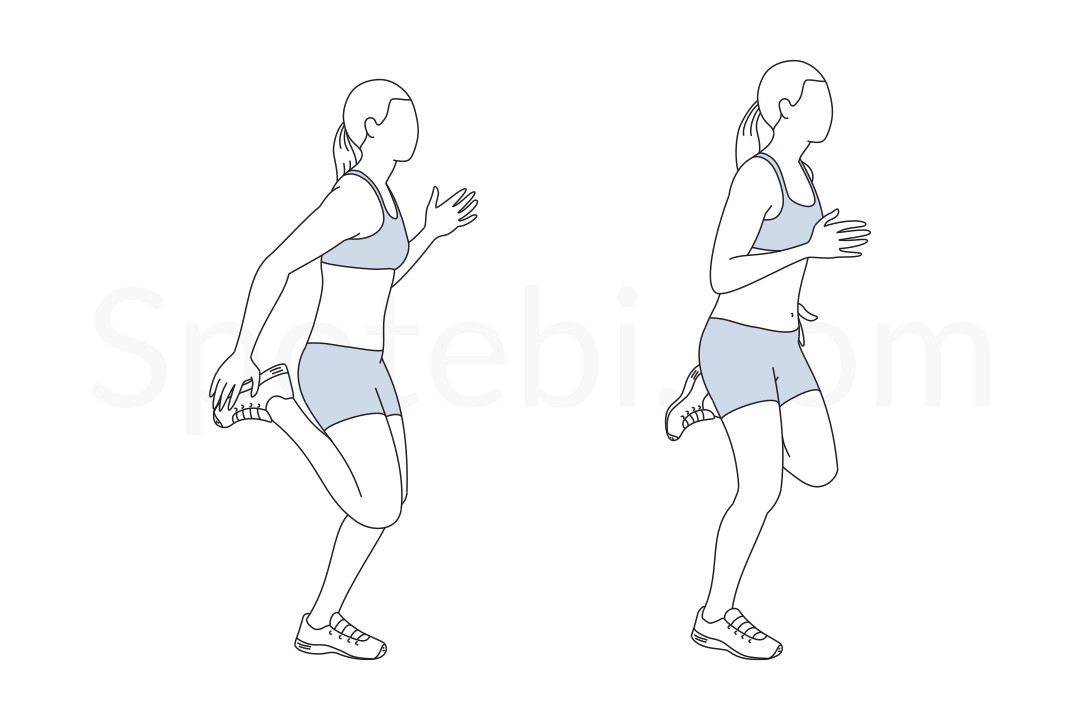 Butt kicks exercise guide with instructions, demonstration, calories burned and muscles worked. Learn proper form, discover all health benefits and choose a workout. https://www.spotebi.com/exercise-guide/butt-kicks/