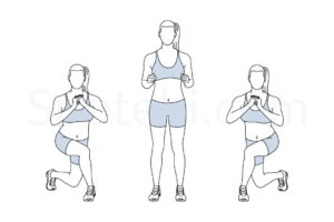 Curtsy lunge exercise guide with instructions, demonstration, calories burned and muscles worked. Learn proper form, discover all health benefits and choose a workout. https://www.spotebi.com/exercise-guide/curtsy-lunge/