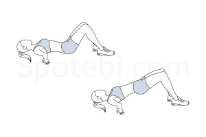 Glute bridge exercise guide with instructions, demonstration, calories burned and muscles worked. Learn proper form, discover all health benefits and choose a workout. https://www.spotebi.com/exercise-guide/glute-bridge/