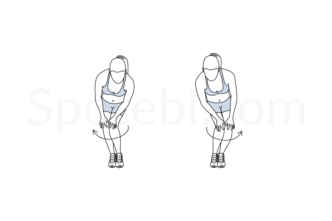Knee circles exercise guide with instructions, demonstration, calories burned and muscles worked. Learn proper form, discover all health benefits and choose a workout. https://www.spotebi.com/exercise-guide/knee-circles/