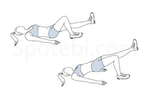 Single leg bridge exercise guide with instructions, demonstration, calories burned and muscles worked. Learn proper form, discover all health benefits and choose a workout. https://www.spotebi.com/exercise-guide/single-leg-bridge/