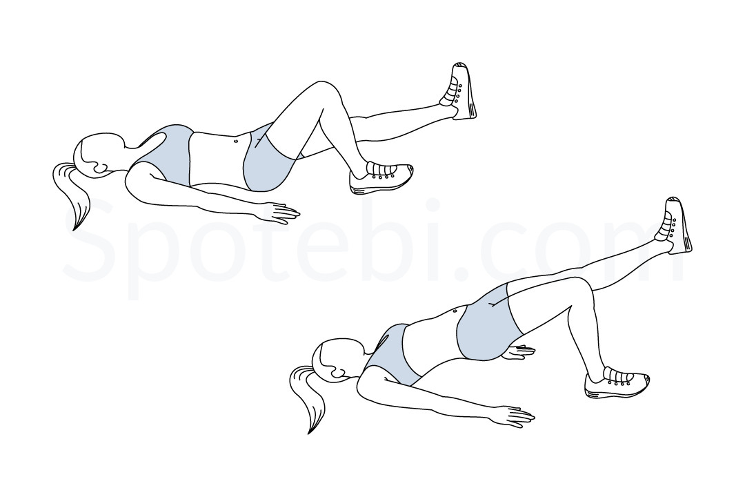 Single Leg Bridge Illustrated Exercise Guide