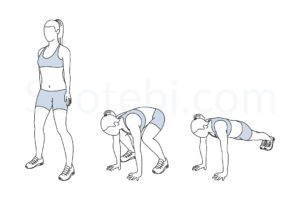 Squat thrust exercise guide with instructions, demonstration, calories burned and muscles worked. Learn proper form, discover all health benefits and choose a workout. https://www.spotebi.com/exercise-guide/squat-thrust/