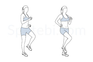 March in place exercise guide with instructions, demonstration, calories burned and muscles worked. Learn proper form, discover all health benefits and choose a workout. https://www.spotebi.com/exercise-guide/march-in-place/