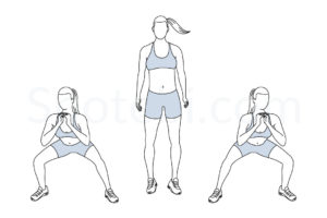 Side to side squats exercise guide with instructions, demonstration, calories burned and muscles worked. Learn proper form, discover all health benefits and choose a workout. https://www.spotebi.com/exercise-guide/side-to-side-squats/