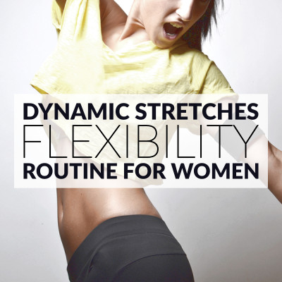 Increase your flexibility with this set of dynamic stretching exercises. A 10 minute routine for women with music playlist, calorie calculator and timer. https://www.spotebi.com/workout-routines/flexibility-exercises-dynamic-stretching-routine-for-women/