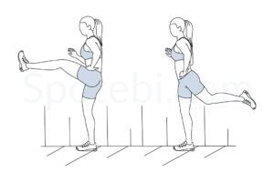 Forward leg swings exercise guide with instructions, demonstration, calories burned and muscles worked. Learn proper form, discover all health benefits and choose a workout. https://www.spotebi.com/exercise-guide/forward-leg-swings/