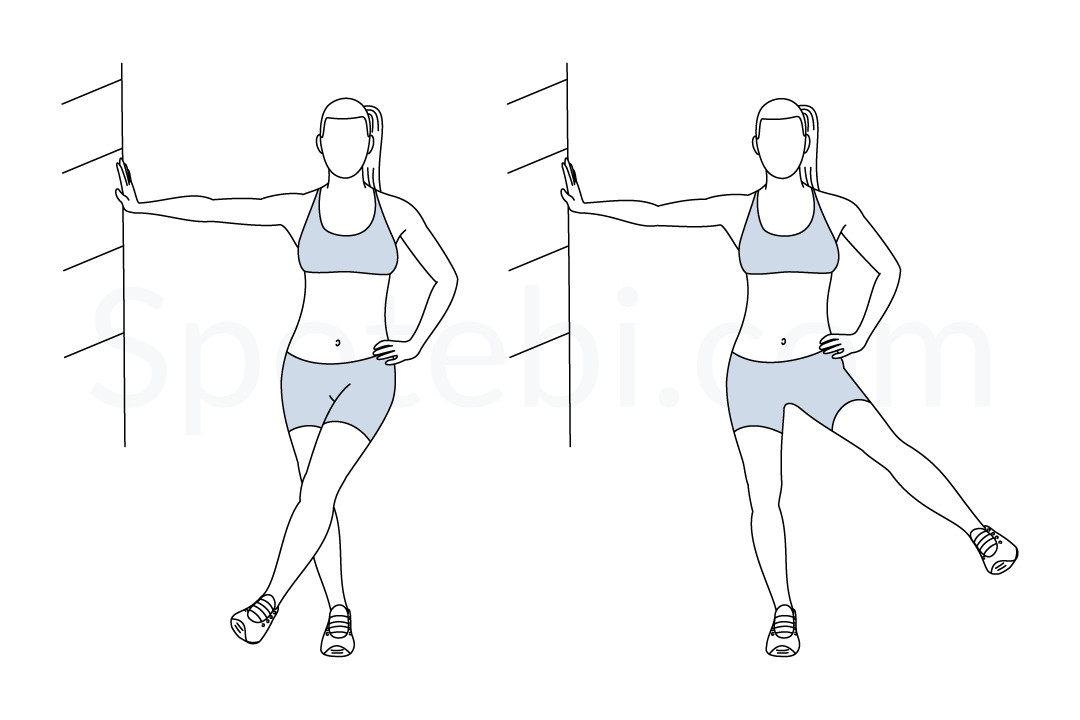 Lateral leg swings exercise guide with instructions, demonstration, calories burned and muscles worked. Learn proper form, discover all health benefits and choose a workout. https://www.spotebi.com/exercise-guide/lateral-leg-swings/