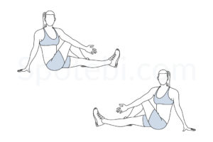 Outer thigh stretch exercise guide with instructions, demonstration, calories burned and muscles worked. Learn proper form, discover all health benefits and choose a workout. https://www.spotebi.com/exercise-guide/outer-thigh-stretch/