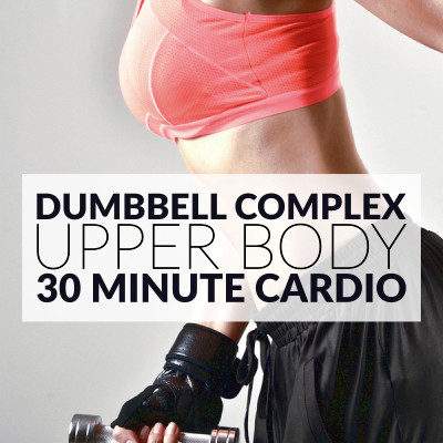Quickly transform your upper body with this 30 minute cardio routine for women. A dumbbell workout to tone and tighten your arms, chest, back and shoulders. https://www.spotebi.com/workout-routines/30-minute-cardio-upper-body-dumbbell-workout/