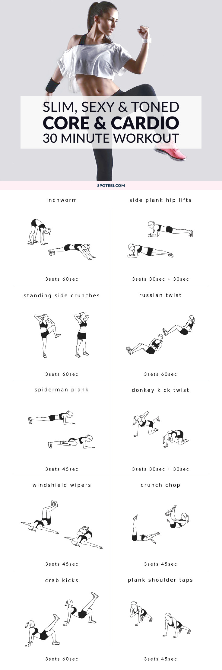 Work your abs, obliques and lower back with this core and cardio workout. Improve your aerobic fitness at home and get a toned, sculpted and slim belly! https://www.spotebi.com/workout-routines/bodyweight-at-home-core-and-cardio-workout/