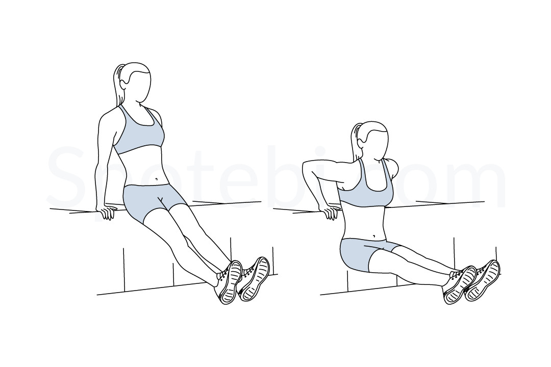 Tricep dips exercise guide with instructions, demonstration, calories burned and muscles worked. Learn proper form, discover all health benefits and choose a workout. https://www.spotebi.com/exercise-guide/tricep-dips/