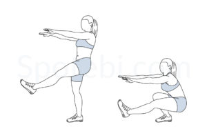 Pistol squat exercise guide with instructions, demonstration, calories burned and muscles worked. Learn proper form, discover all health benefits and choose a workout. https://www.spotebi.com/exercise-guide/pistol-squat/