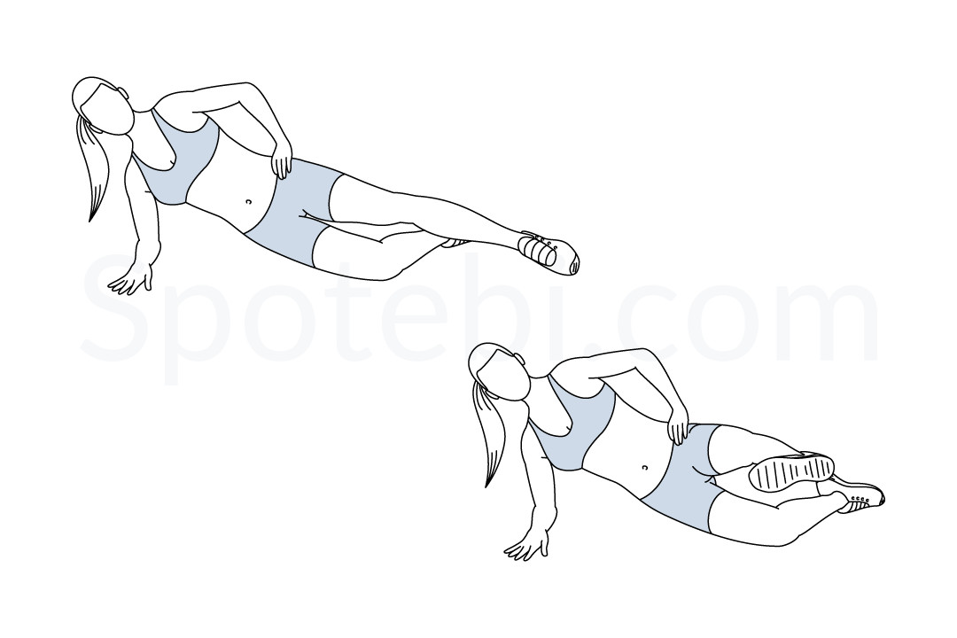 Side plank front kick exercise guide with instructions, demonstration, calories burned and muscles worked. Learn proper form, discover all health benefits and choose a workout. https://www.spotebi.com/exercise-guide/side-plank-front-kick/