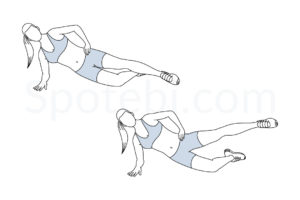 Side plank hip abduction exercise guide with instructions, demonstration, calories burned and muscles worked. Learn proper form, discover all health benefits and choose a workout. https://www.spotebi.com/exercise-guide/side-plank-hip-abduction/