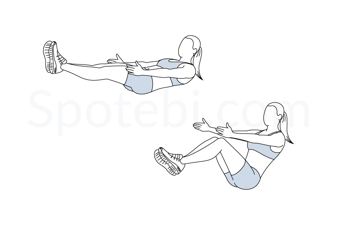V sit exercise guide with instructions, demonstration, calories burned and muscles worked. Learn proper form, discover all health benefits and choose a workout. https://www.spotebi.com/exercise-guide/v-sit/