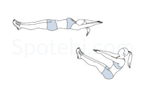 V ups exercise guide with instructions, demonstration, calories burned and muscles worked. Learn proper form, discover all health benefits and choose a workout. https://www.spotebi.com/exercise-guide/v-ups/
