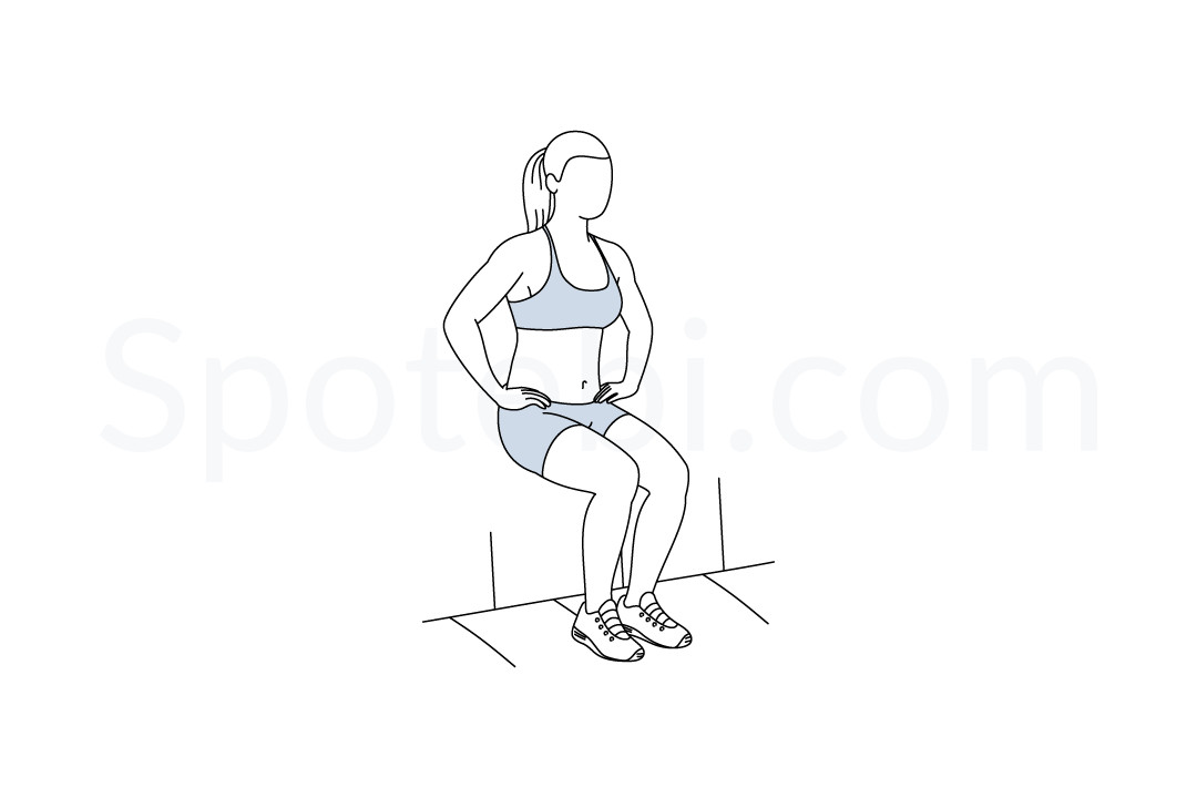 Wall sit exercise guide with instructions, demonstration, calories burned and muscles worked. Learn proper form, discover all health benefits and choose a workout. https://www.spotebi.com/exercise-guide/wall-sit/