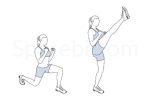 Lunge kicks exercise guide with instructions, demonstration, calories burned and muscles worked. Learn proper form, discover all health benefits and choose a workout. https://www.spotebi.com/exercise-guide/lunge-kicks/