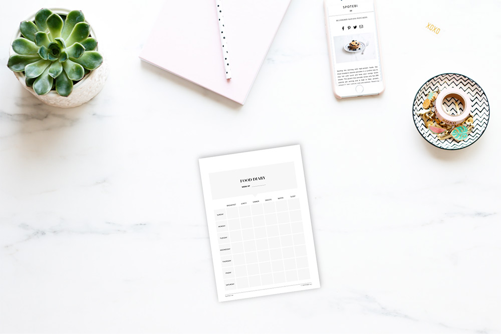 Print Our Free Food Diary Template, Track Your Eating Habits, Thoughts,  Feelings And  Food Diary Template Free