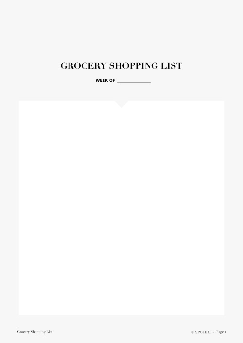 Grocery List Template / @spotebi