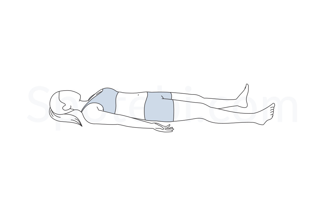 Corpse pose (Savasana) instructions, illustration and mindfulness practice. Learn about preparatory, complementary and follow-up poses, and discover all health benefits. https://www.spotebi.com/exercise-guide/savasana/