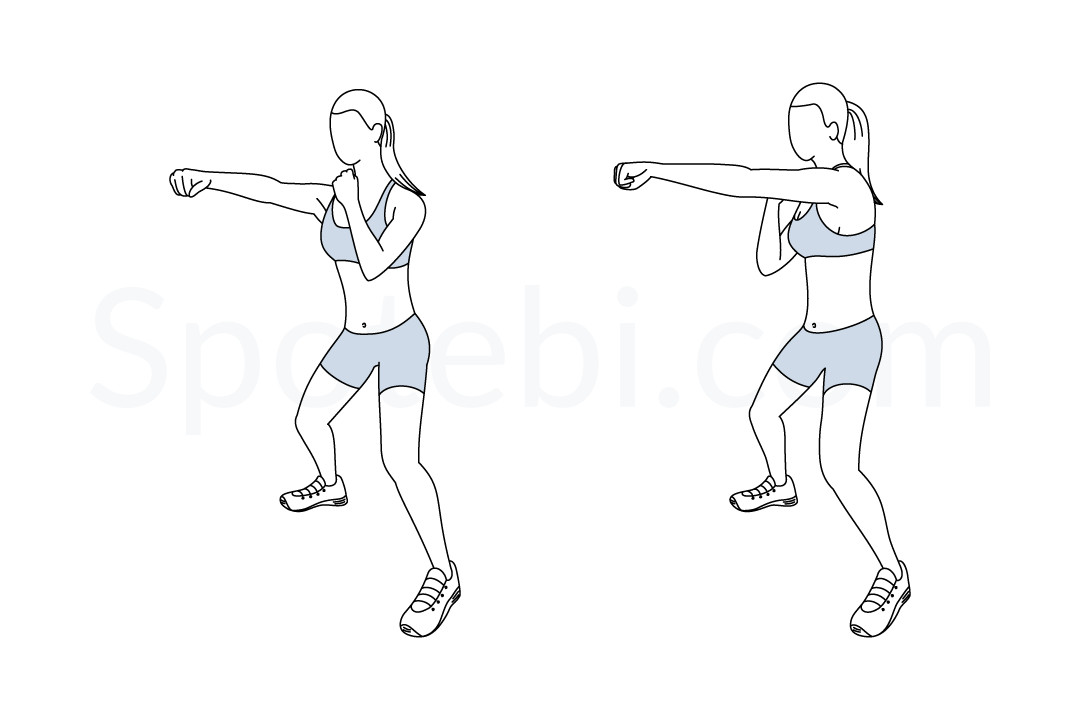 Half squat jab cross exercise guide with instructions, demonstration, calories burned and muscles worked. Learn proper form, discover all health benefits and choose a workout. https://www.spotebi.com/exercise-guide/half-squat-jab-cross/