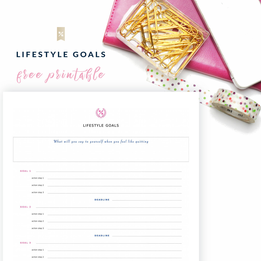 write down your new years resolutions on our lifestyle goals printable and set up realistic and