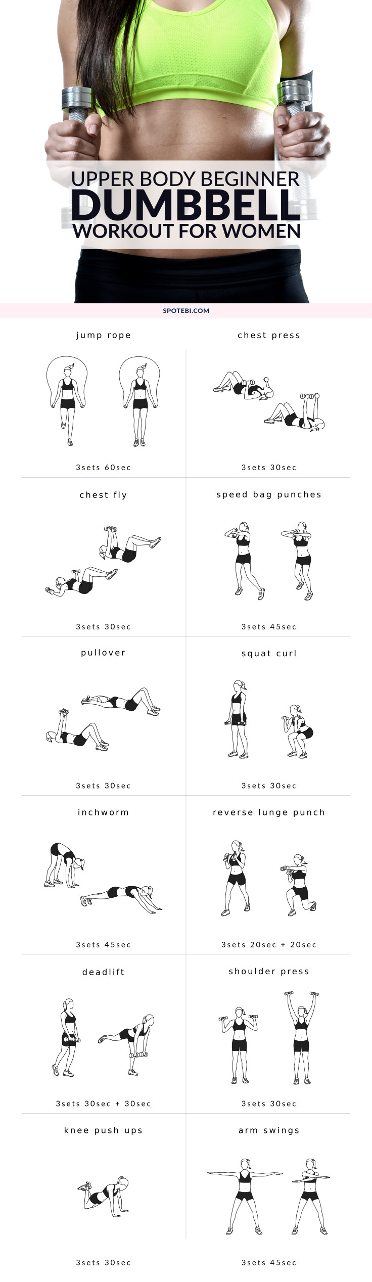 Strengthen your back and lift your chest with this upper body beginner workout for women. A set of 12 exercises to help you sculpt your body and improve your posture. https://www.spotebi.com/workout-routines/upper-body-beginner-workout-women/
