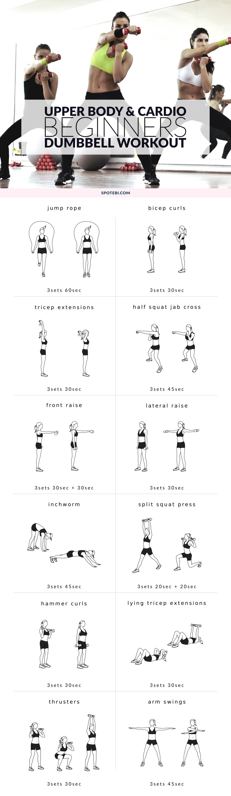 Slim down your arms and sculpt your shoulders with this upper body beginners workout for women. A mix of cardio and strength training moves to trim body fat and strengthen the muscles. https://www.spotebi.com/workout-routines/upper-body-cardio-beginners-workout/