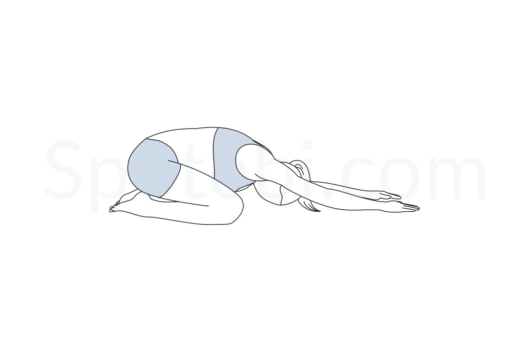 Child's pose (Balasana) instructions, illustration and mindfulness practice. Learn about preparatory, complementary and follow-up poses, and discover all health benefits. https://www.spotebi.com/exercise-guide/childs-pose/