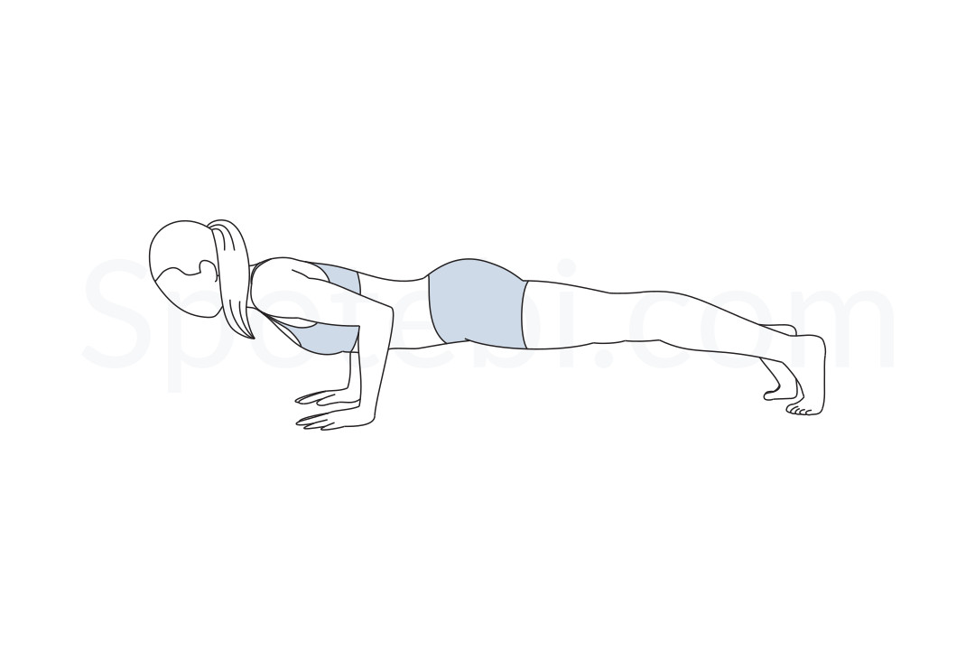 Low plank pose (Chaturanga Dandasana) instructions, video demonstration and mindfulness practice. Learn about preparatory, complementary and follow-up poses, and discover all health benefits. https://www.spotebi.com/exercise-guide/chaturanga-dandasana/