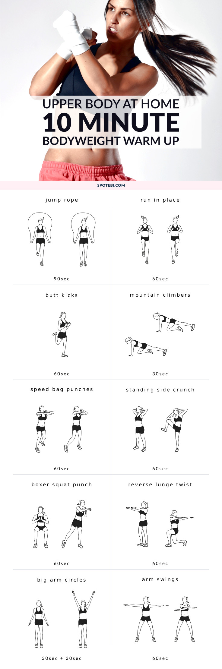Try this quick warm up routine next time you want to prepare for an upper body workout. A 10 minute set of dynamic exercises to help you improve your flexibility, boost your metabolism and prevent injury. https://www.spotebi.com/workout-routines/upper-body-dynamic-warm-up-exercises/