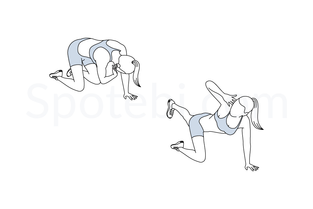 Donkey kick twist exercise guide with instructions, demonstration, calories burned and muscles worked. Learn proper form, discover all health benefits and choose a workout. https://www.spotebi.com/exercise-guide/donkey-kick-twist/