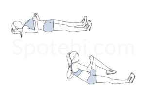Sprinter crunch exercise guide with instructions, demonstration, calories burned and muscles worked. Learn proper form, discover all health benefits and choose a workout. https://www.spotebi.com/exercise-guide/sprinter-crunch/