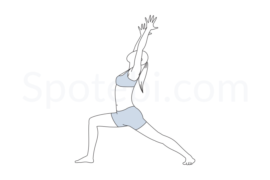 Warrior I pose (Virabhadrasana I) instructions, illustration and mindfulness practice. Learn about preparatory, complementary and follow-up poses, and discover all health benefits. https://www.spotebi.com/exercise-guide/warrior-i-pose/
