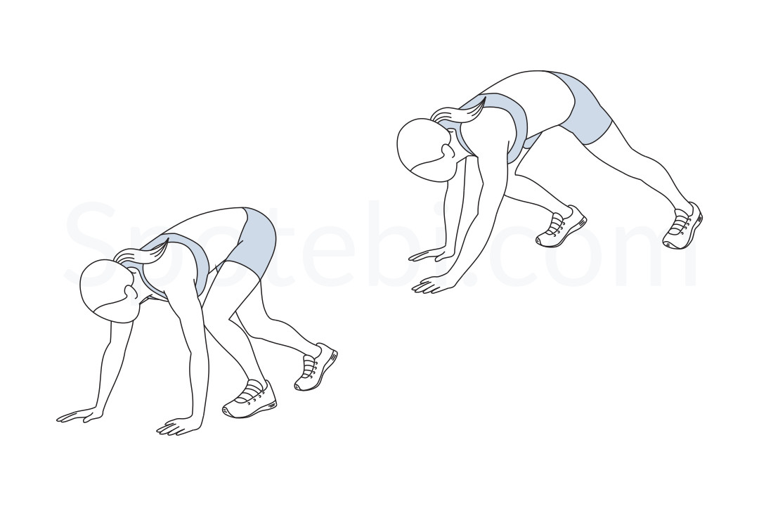 Bear walk exercise guide with instructions, demonstration, calories burned and muscles worked. Learn proper form, discover all health benefits and choose a workout. https://www.spotebi.com/exercise-guide/bear-walk/