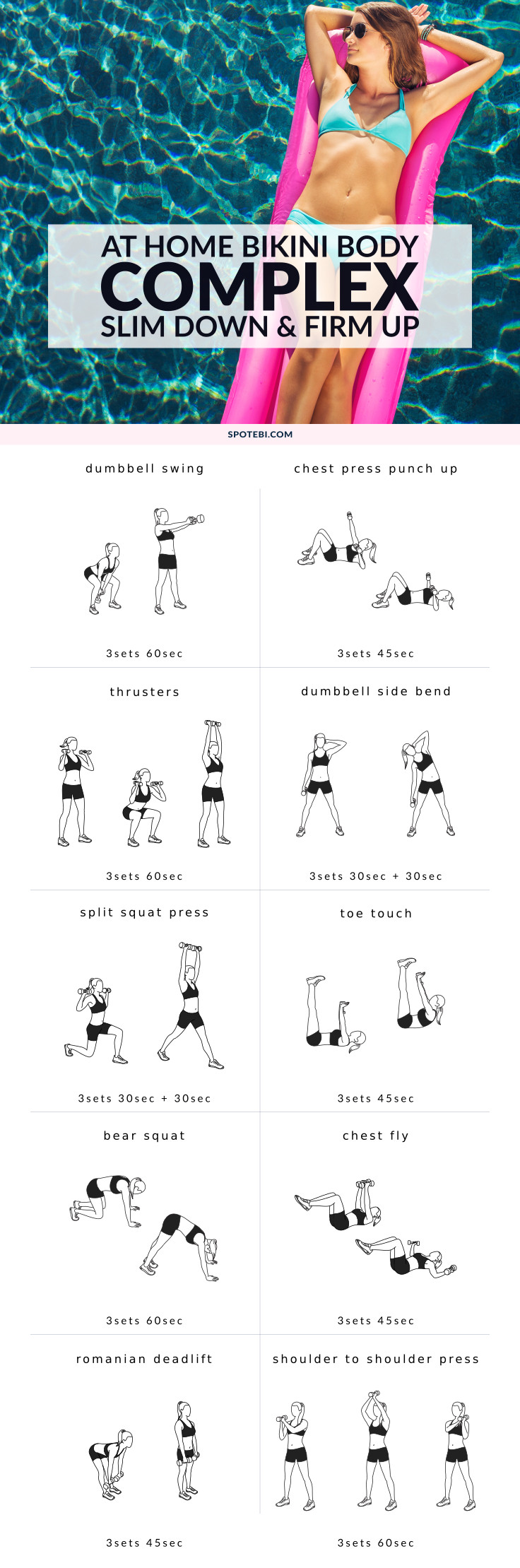 Slim down and firm up with this Bikini Body Complex designed to help you burn mega calories and deliver long-lasting results. Turn on the music, get in the zone, push yourself, and focus on what you want the most! https://www.spotebi.com/workout-routines/bikini-body-complex-full-body-workout-for-women/