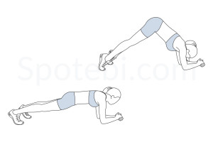 Inverted V plank exercise guide with instructions, demonstration, calories burned and muscles worked. Learn proper form, discover all health benefits and choose a workout. https://www.spotebi.com/exercise-guide/inverted-v-plank/