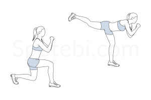 Lunge back kick exercise guide with instructions, demonstration, calories burned and muscles worked. Learn proper form, discover all health benefits and choose a workout. https://www.spotebi.com/exercise-guide/lunge-back-kick/