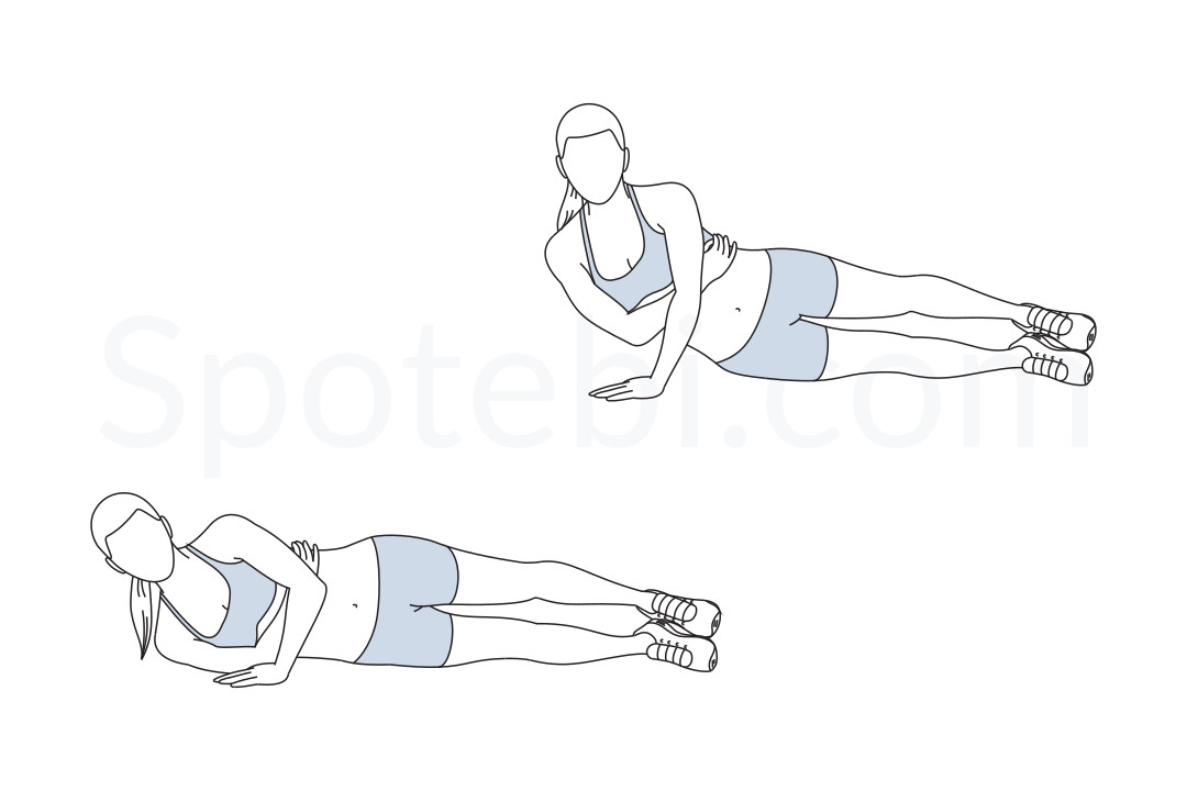 One arm tricep push up exercise guide with instructions, demonstration, calories burned and muscles worked. Learn proper form, discover all health benefits and choose a workout. https://www.spotebi.com/exercise-guide/one-arm-tricep-push-up/