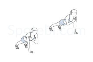 Plank shoulder taps exercise guide with instructions, demonstration, calories burned and muscles worked. Learn proper form, discover all health benefits and choose a workout. https://www.spotebi.com/exercise-guide/plank-shoulder-taps/