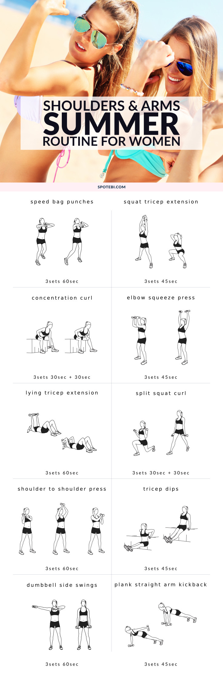 Get your upper body fit and toned for Summer with this shoulders and arms workout for women. A complete 30 minute circuit that combines cardio and strength training moves to create a well-rounded, fat-burning routine. https://www.spotebi.com/workout-routines/shoulders-arms-workout-for-women/