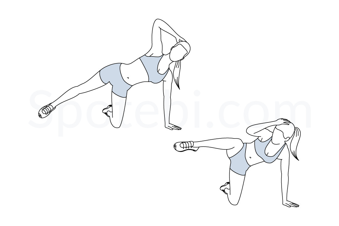 Triangle crunch exercise guide with instructions, demonstration, calories burned and muscles worked. Learn proper form, discover all health benefits and choose a workout. https://www.spotebi.com/exercise-guide/triangle-crunch/