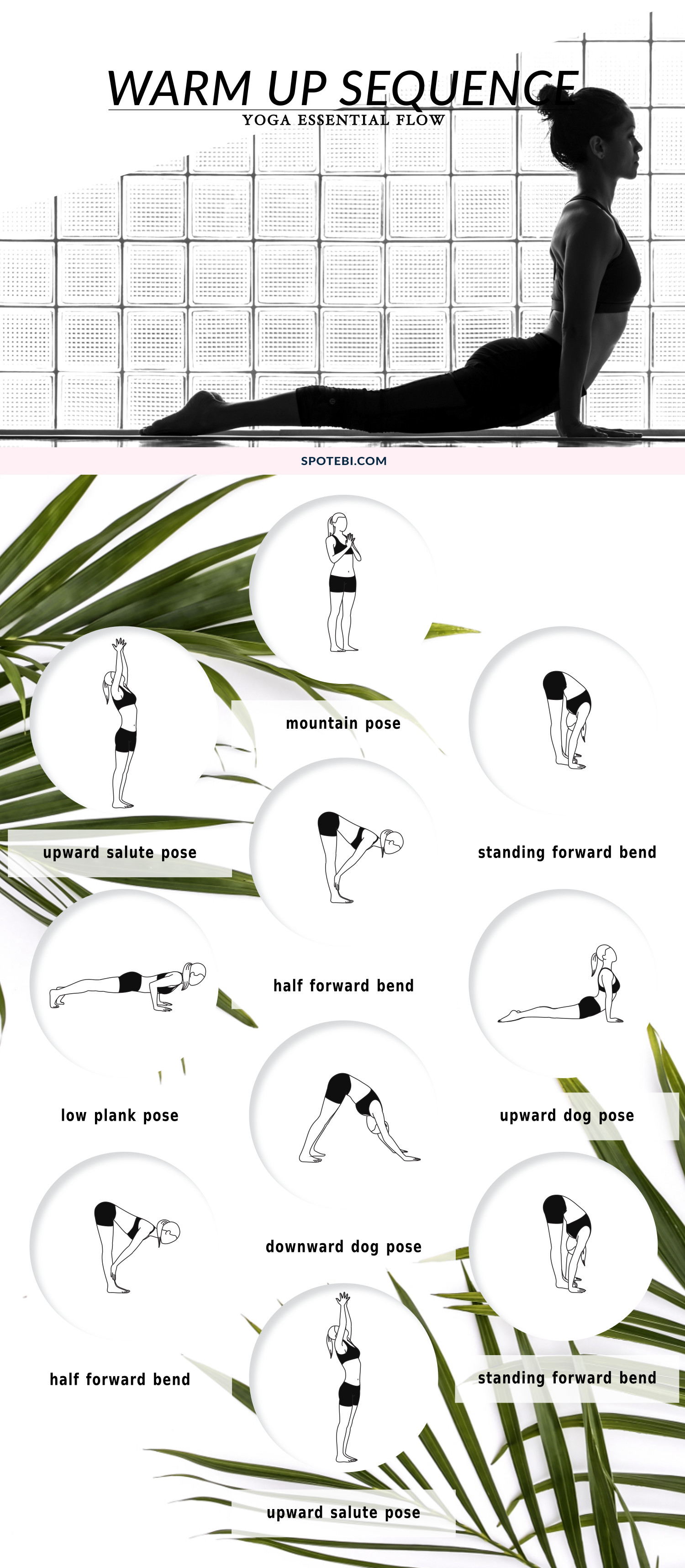 Awaken the body and prepare for a workout with this yoga warm up flow. Repeat this flow for 5 rounds, give yourself time to ease into the asanas and, with each exhale, move deeper into the poses. https://www.spotebi.com/yoga-sequences/warm-up-flow/