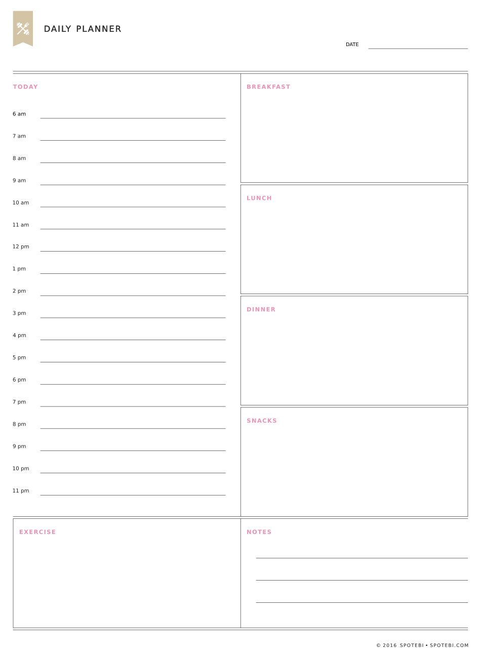 Planning Our Day The Night Before Helps Us Be More Productive And Makes Our  Everyday Lives  Downloadable Daily Planner